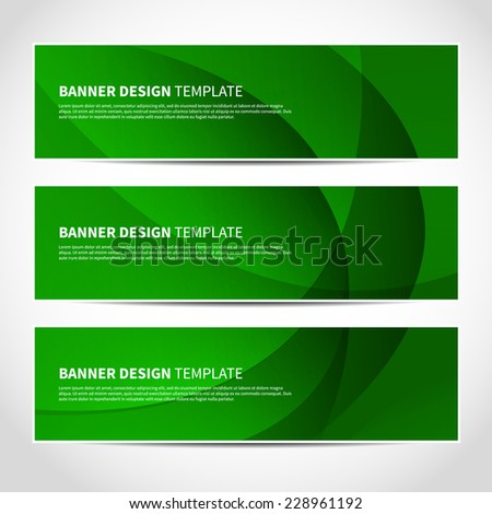 Set of trendy green lights vector banners template or website headers with abstract geometric background. Vector design illustration EPS10 - stock vector