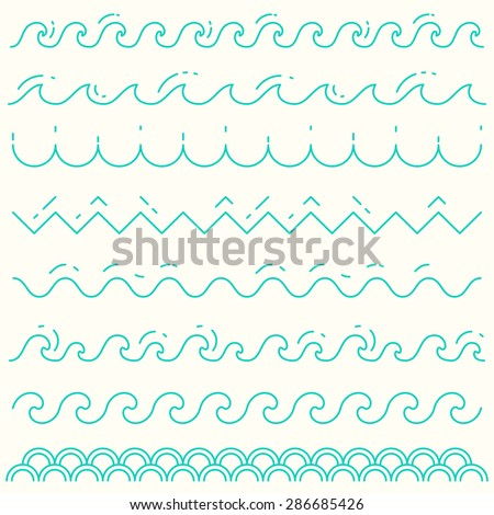 Set of trendy linear style waves. Blue wave line pattern, vector illustration. - stock vector