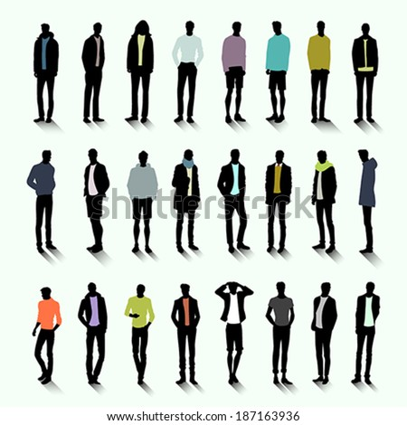 Set of trendy male silhouettes with color elements of clothing