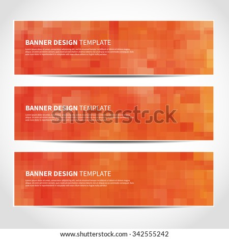 Set of trendy orange vector banners template or website headers with abstract geometric background. Vector design illustration EPS10 - stock vector