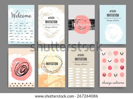 Set Brochure Poster Design Templates Abstract Stock Vector