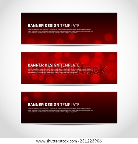 Set of trendy red and black vector banners template or website headers with abstract geometric bokeh background. Vector design illustration EPS10 - stock vector