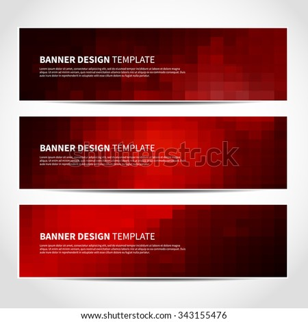 Set of trendy red and black vector banners template or website headers with abstract geometric background. Vector design illustration EPS10 - stock vector