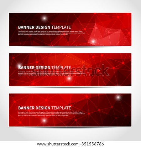 Set of trendy red vector banners template or website headers with abstract geometric triangular background and sparkles. Vector design illustration EPS10 - stock vector