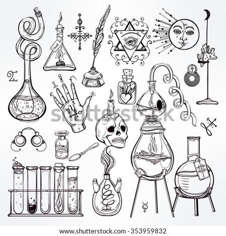 Set of trendy vector Alchemy symbols collection. Design and tattoo elements.Vector illustration. - stock vector