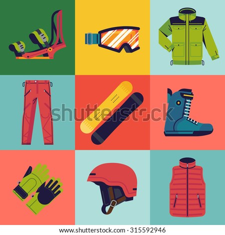 Set of trendy vector snowboarding gear web icons | Winter sports activities accessories and equipment flat design elements