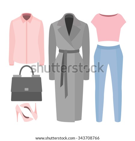 Set of  trendy women's clothes. Outfit of woman coat, panties, blouse, shirt and accessories. Women's wardrobe. Vector illustration