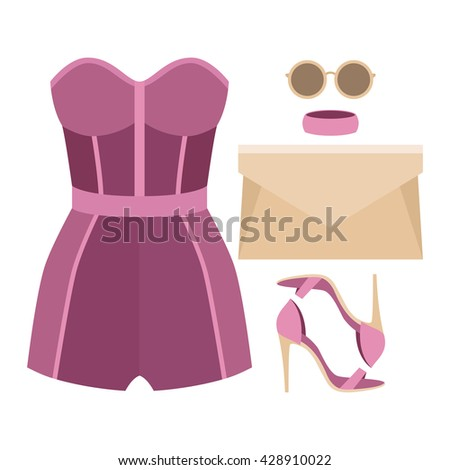 Set of trendy women's clothes with overall and accessories. Vector illustration