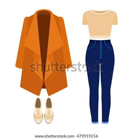 Set of trendy women's clothes with panties, coat, top and accessories. Vector illustration