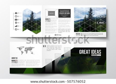 Set of tri-fold brochures, square design templates. Colorful polygonal backdrop, blurred natural background, modern stylish triangle vector texture.