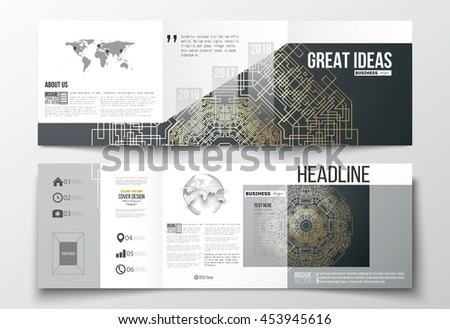 Set of tri-fold brochures, square design templates with element of world map and globe. Round golden technology pattern on dark background, mandala template with connecting lines and dots. - stock vector