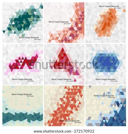 set of triangular vector design templates - stock vector