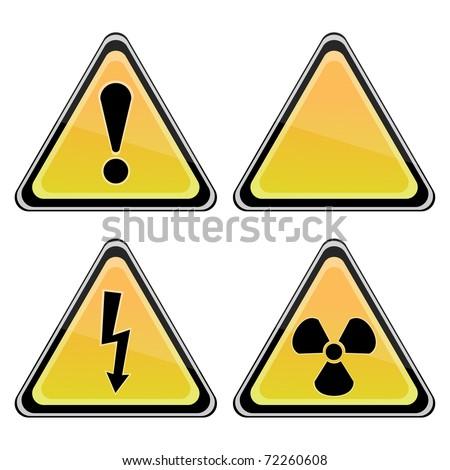 Set of Triangular Warning Hazard Signs - stock vector