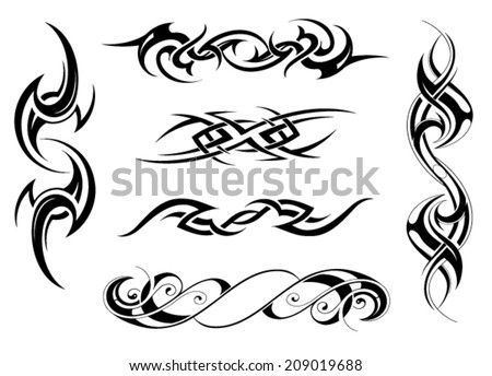 Line Art Tattoo Designs : Set tribal tattoo designs stock vector hd royalty free