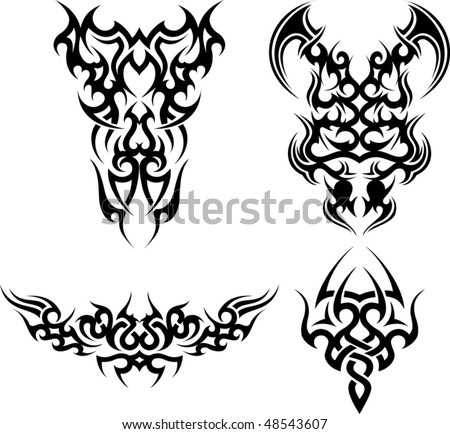 Set of 4 tribal tattoos - stock vector