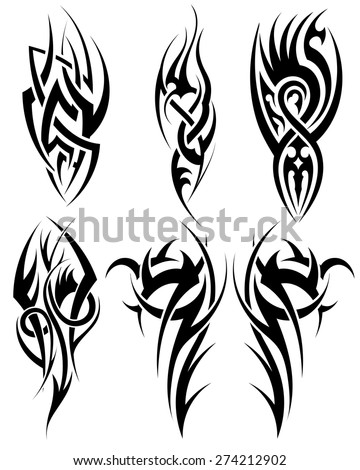 Set of tribal tattoos. EPS 10 vector illustration without transparency. - stock vector