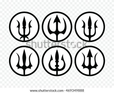 Set Trident Silhouette Trident Symbol Stock Photo Photo Vector