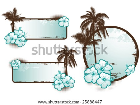 Set of tropical banners in blue - vector - stock vector