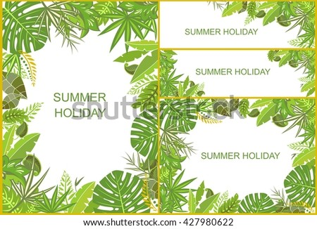 Set of tropical green backgrounds - stock vector