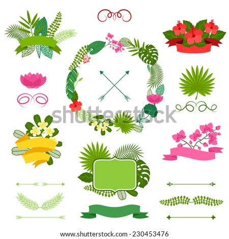 Set of tropical plants wreath, ribbons and labels. - stock vector