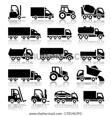 Set of truck black icons. Vector illustrations, silhouettes isolated on white background - stock vector