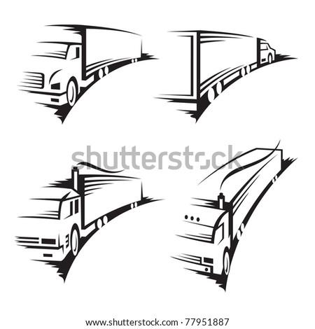 set of trucks - stock vector
