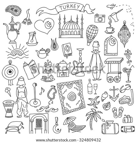 Set of Turkey icons doodle. Hand drawn vector illustration. - stock vector