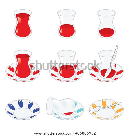 Set of Turkish tea and components isolated on white. Vector, illustration. - stock vector