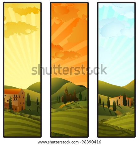 Set of Tuscany landscape banners - stock vector