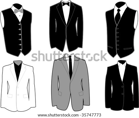 Set of tuxedos in black and white, easily editable, separated on layers. - stock vector