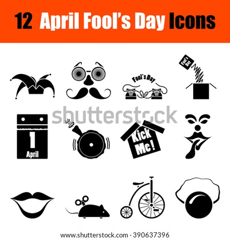 Set of twelve April Fool's day black icons. Vector illustration. - stock vector