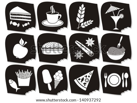 Set of twelve black and white food and drink icons - stock vector