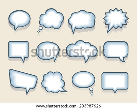 Set of twelve blank funny cartoon vector speech or thought bubbles in a variety of shapes with interior blue shading for the internet and print - stock vector