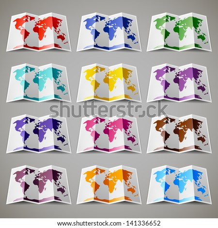 Set of twelve colored maps of the World - stock vector