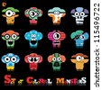 Set of twelve colorful monsters - stock vector