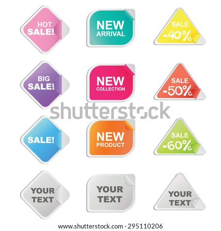 Set of twelve colorful stickers in diamond, rectangle and triangle shapes