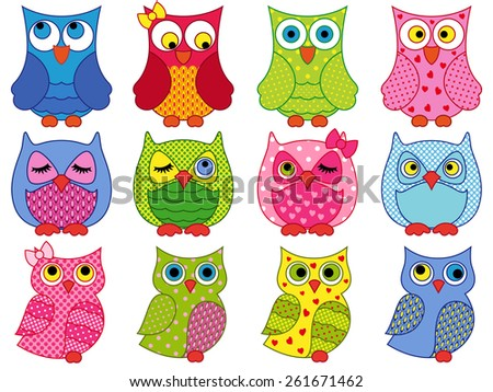 Set of twelve colourful cartoon vector owls with various characters isolated on white background - stock vector