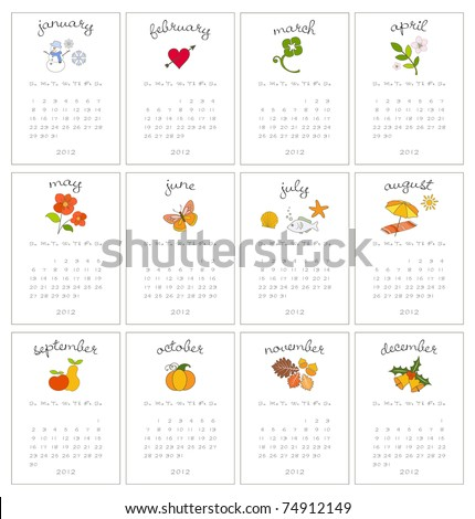 Set of twelve decorative monthly calendars for 2012 year - stock vector