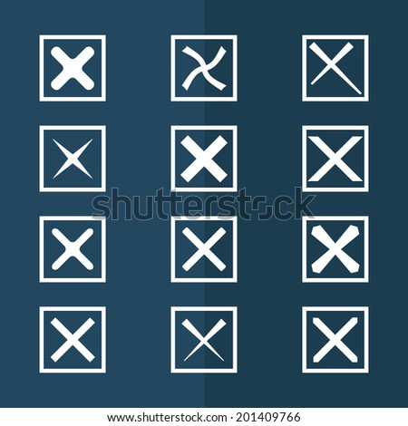 Set of twelve different gray vector check marks or ticks  in boxes. Vector illustration. - stock vector