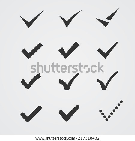 Set of twelve different grey vector check marks or ticks in boxes conceptual of confirmation acceptance positive passed voting agreement true or completion of tasks on a list - stock vector