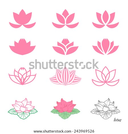 Set of twelve different sketches of  lotus flower - stock vector