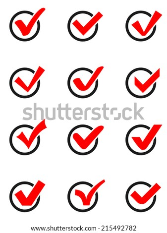Set of twelve different  vector check marks or ticks in boxes conceptual of confirmation acceptance positive passed voting. - stock vector