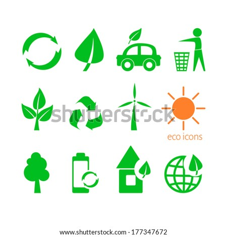 Set of twelve environmental icons green and orange isolated on white background
