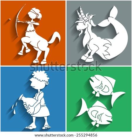 Set of twelve flat cute cartoon zodiacal signs, part 1. Aries, Taurus, Gemini, Cancer. Horoscope collection. - stock vector