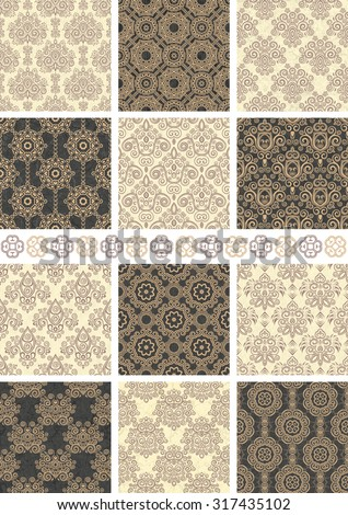 Set of twelve floral vintage seamless patterns.