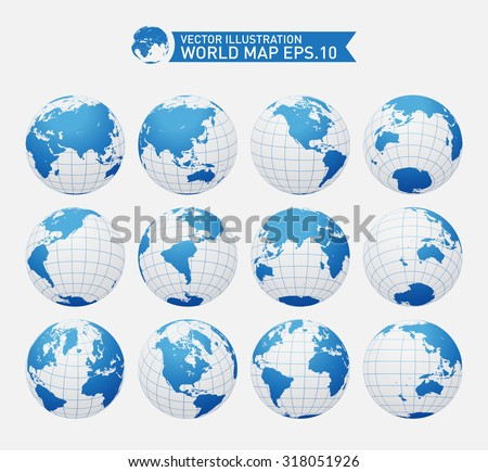 Set of twelve globes showing earth with all continents