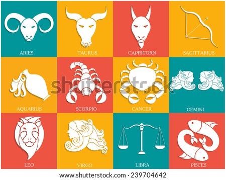Set of Twelve Horoscope or Zodiac sign. - stock vector