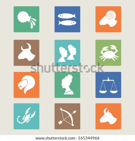 Set of twelve horoscope zodiac star signs. Vector illustration.  - stock vector