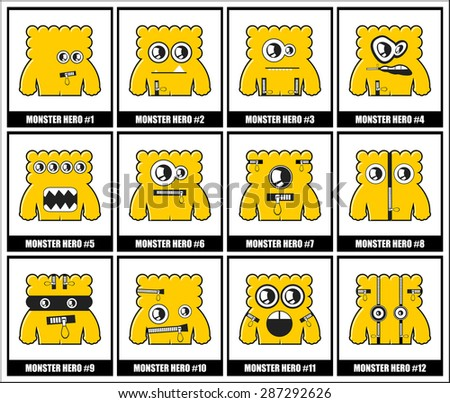 Set of twelve monsters. vector illustration - stock vector
