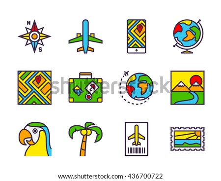Set of twelve outline icons for travel and navigation theme: airplane, airplane ticket, compass, smartphone with map, globe, luggage bag with stickers, landscape, postcard and other